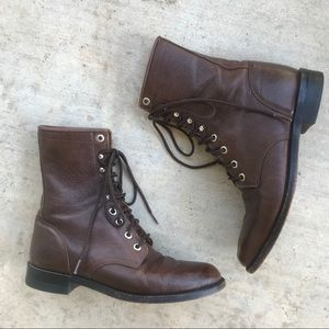 Justin Lace Up Dark Brown Leather Roper Boots 6B